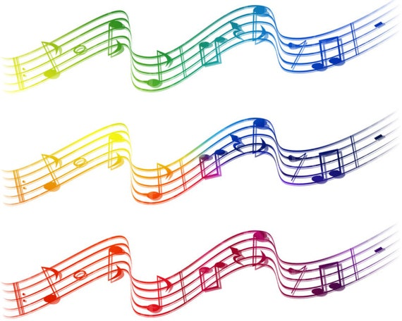Rainbow Musical Notes Band Birthday - Edible Cake Side Toppers- Decorate The Sides of Your Cake! - D22865