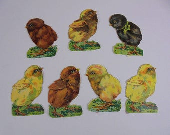 Antique Edwardian Chicks Scraps x 7