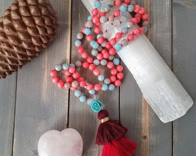 jasper coral aquamarine gemstone 108 bead mala with tiered tassel