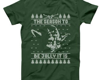 Jolly Yoda Ugly Christmas Sweater Funny Xmas Humor Star Wars Party Outfit Basic Men's T-Shirt DT1640
