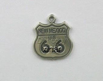 Sterling Silver New Mexico Route 66 Charm
