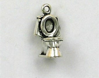 Sterling Silver 3-D Toilet Charm