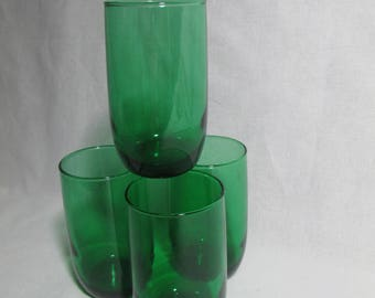 Forest Green juice glass by Anchor Hocking  set of 4