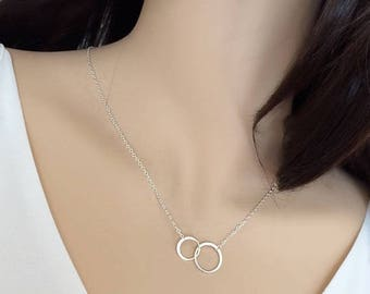 ON SALE Double Circle Necklace, Karma Necklace, Eternity Necklace, Best Friends Necklace, Gift Mom Daughter, Eternal Love