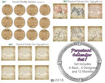 Perpetual Calendar Set 1 DIGITAL DOWNLOAD ONLY!!, Journal Kit, Glue Book, Flow Journal, Smash Book, Journal