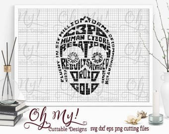 C3PO Star Wars Inspired Subway Art Svg Dxf Eps Png Cutting Files