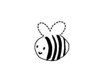 "Bumble Bee Stamp, Cute Bumble Bee Mini Stamp, Honey Bee Stamp, Cute Stationary Stamp, Honey Label Stamp, Honey Labels, 0.75""x0.75"" (minis48)"