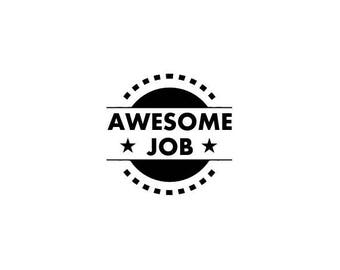 "mini AWESOME JOB text rubber STAMP - mini rubber stamp, classroom stamp, stationary stamp, teacher stamp, good job, 0.75"" x 0.75"" (minis48)"