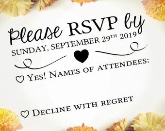 "Custom RSVP Stamp, Wedding Invitations, Modern Curly Font, Wedding Stationery, DIY RSVP Stamp, Personalized Rubber Stamp, 3""x2"" (crsvp4)"