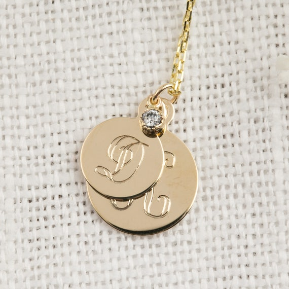 Double initial necklace 14k solid rose gold mother child like this item mozeypictures Images