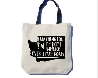 Washington State Tote Bag, Screen Printed, Black Ink, Thick Canvas Tote Bag