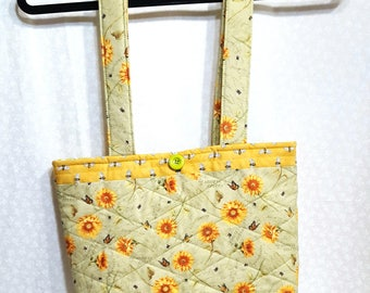 New QUILTED TOTE  BAG /Sunflowers /Bees Fabric  / Contrasting Green Polka-dot / Organizer / Sewing/Travel Bag / Shopping Bag