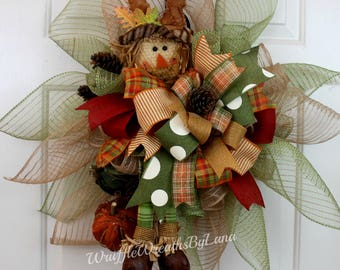 Scarecrow Wreath for Fall, Fall Deco Mesh Wreath for Front Door, Scarecrow Door Hanger, Fall Scarecrow Door Hanger, Door Hanging