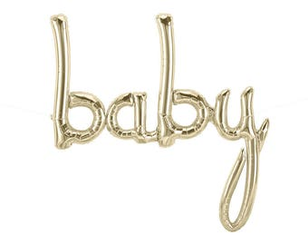 Gold Baby Balloon Banner, Baby Shower Decoration, Baby Script Balloon, Baby Shower Balloon Banner, Mylar Baby Balloon, Baby Announcement
