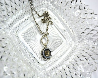 Typewriter Key Initial Necklace Personalized with a Letter B, Art Deco Vintage Style, Typography Jewelry.