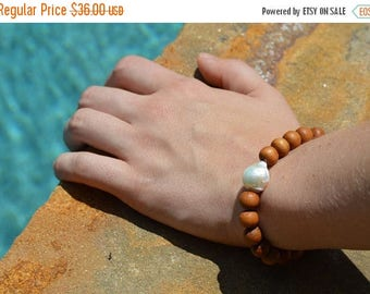 Sale Freshwater Pearl Sandalwood Bracelet, Fireball Pearl, Flameball Pearl, Sandalwood Bracelet, Boho Bracelet, Stackable Bracelet