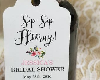 """Personalized Favor Tags 2.5""""Lx1.8w"""", Baby Shower  tags, Thank You tags, bottle favor, wine bottle favor, sip sip hooray, Bridal Shower"""