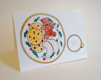 Happy Holidays/Merry Christmas Santa's Cookies and Milk Card - Mom and Dad - Handmade and printed from original ink and gouache illustration