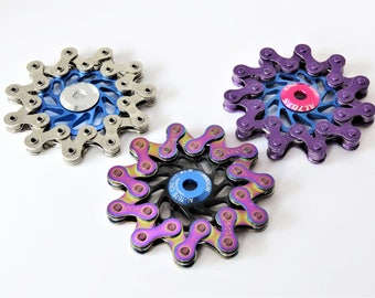 Bike Chain Fidget Spinner: beautiful, balanced, quiet, ceramic bearings for extended spin. Hand crafted from bike parts, with gift box