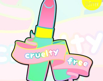 Cruelty Free, Lipstick Holographic Sticker