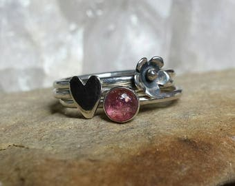 Sterling Silver Hearts and Flowers Stacking Ring