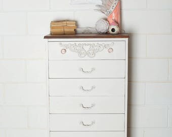 Newly Refurbished Vintage Tallboy Drawers Dresser Solid Wood