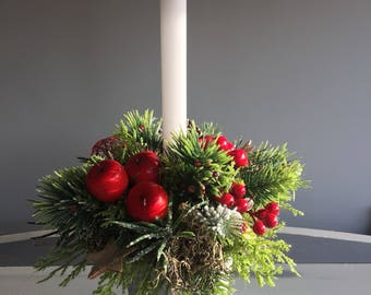 Faux christmas candle arrangement in whites and reds. Christmas centrepiece. Floral arrangement