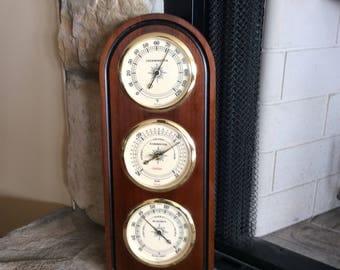 "Vintage Wood ""Sunbeam "" Weatherstation"", Barometer, Thermometer, Humidity, Weather Gauge, Mid Century, Cottage, Man Cave"