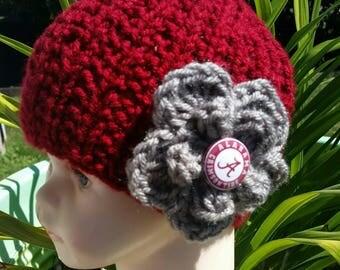 Alabama, FREE SHIPPING, Crimson Tide, Alabama Crimson colored hat, Crimson Red hat, Newborn Baby, Alabama Infant Hat, Crimson knit Beanie