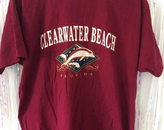 CLEARWATER, FL oversized burgundy tourist souvenir tee XL