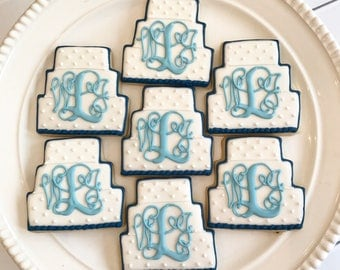 Monogram Wedding Cookies | Monogram Wedding Gift | Wedding Cookies | Bridal Shower Cookies | One Dozen