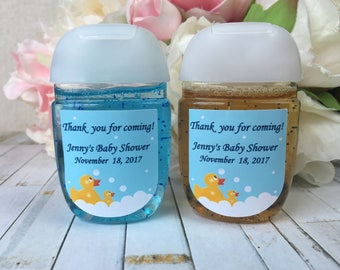 Rubber ducky baby shower favor labels, yellow duck baby shower favor labels, Rubber duck hand sanitizer labels, hand sanitizer favor label