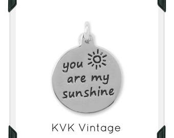 "Oxidized ""You Are My Sunshine"" Charm"