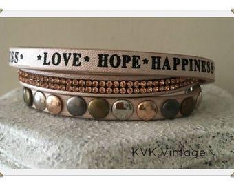 Love Hope Happiness Rhinestone Studded Bracelet Faux Leather Bracelet
