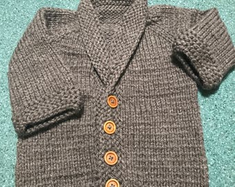 Gray Bulky Knit Shawl Collar Cardigan Sweater