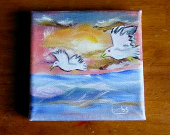 Miniature Painting--Ocean and Sea Birds at Sunset
