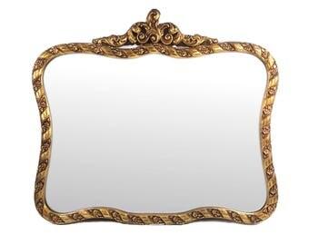"Large 31"" x 28"" Hollywood Regency Gold Wood Frame Vintage Wall Mirror #DBL#"