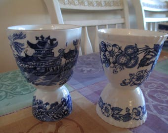 Egg Cups - Dutch Blue - Delft Ware - Blue and White China - Two Ends - Large & Smaller Ends - TWO Vintage Egg Cups - Different Motifs