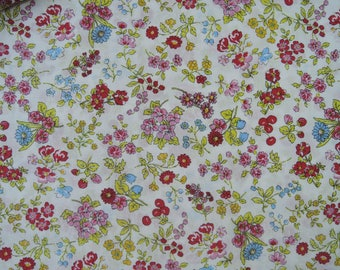 """Fat Quarter of Lecien Memoire A Paris Floral, Cherries and Strawberries Fabric on Off White Background.  Approx. 18"""" x 22"""" Made in Japan"""