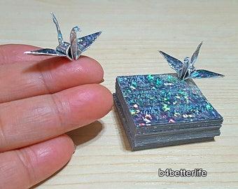 "200 Sheets 1.5"" x 1.5"" SILVER Color DIY Chiyogami Yuzen Paper Folding Kit for Origami Cranes ""Tsuru"". (4D Glittering paper series). #CRK-87."