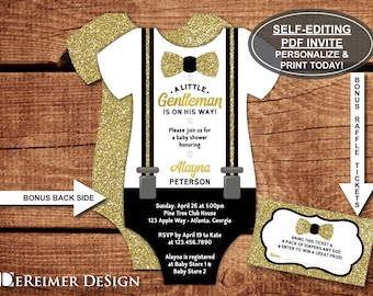 Little Man Baby Shower Invitation, Onesie Invitation, Gentleman, Bow Tie, Suspenders, Black, Gold, Self-Editing Invite, BONUS Raffle Tickets