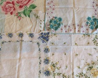 Four Vintage Floral Roses Handkerchiefs