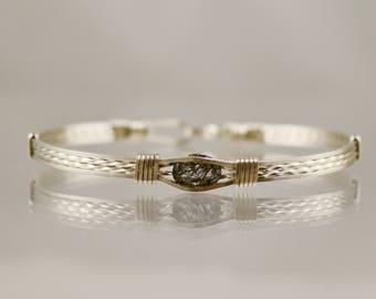 Tourmaline Quartz Sterling Silver Wire Wrap Bracelet