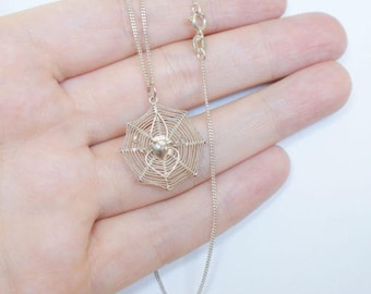 Vintage Sterling Spiders Web Pendant Necklace and Chain