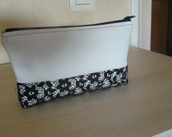 White Black Lace case or makeup case