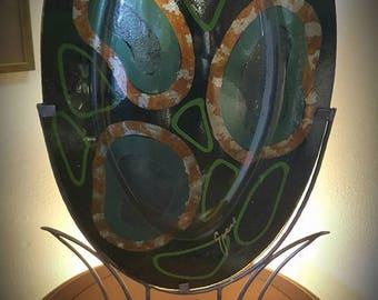 Rare Tony Evans fused glass art sculpture, signed and with hand-made metal stand