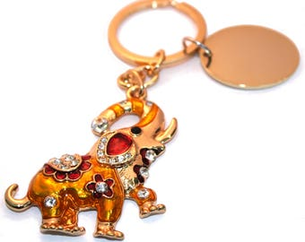 Engraved personalised Indian elephant keyring handbag charm with crystals BR409