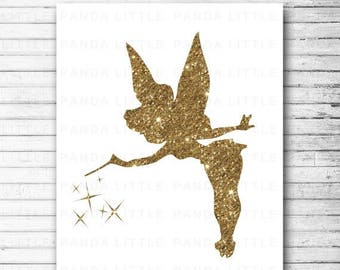 """80% OFF SALE Tinkerbell Print Wall Art Printable Glitter Gold Home Nursery Decor 8"""" x 10"""" - Instant Download - D412"""