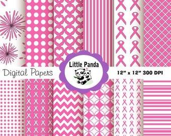 60% OFF SALE Pink Ribbon Breast Cancer Awareness Digital Paper Pack 12 jpg files 12 x 12  - Instant Download - D77