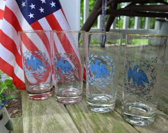 Set of 4 E. Pluribus Unum Bicentennial Memorial Drinking Glasses